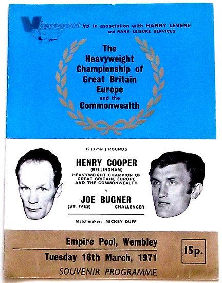 Henry Cooper v Joe Bugner Boxing Programme 1971