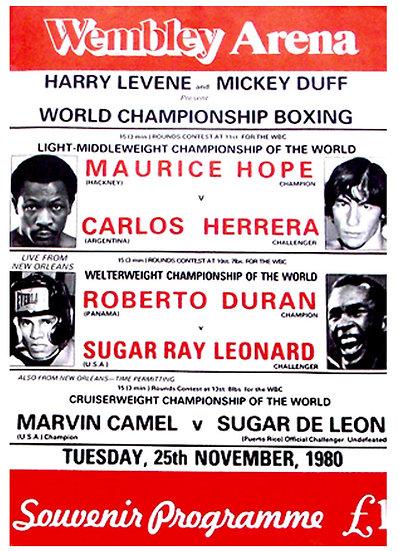 Roberto Duran v Sugar Ray Leonard Boxing Programme 1980