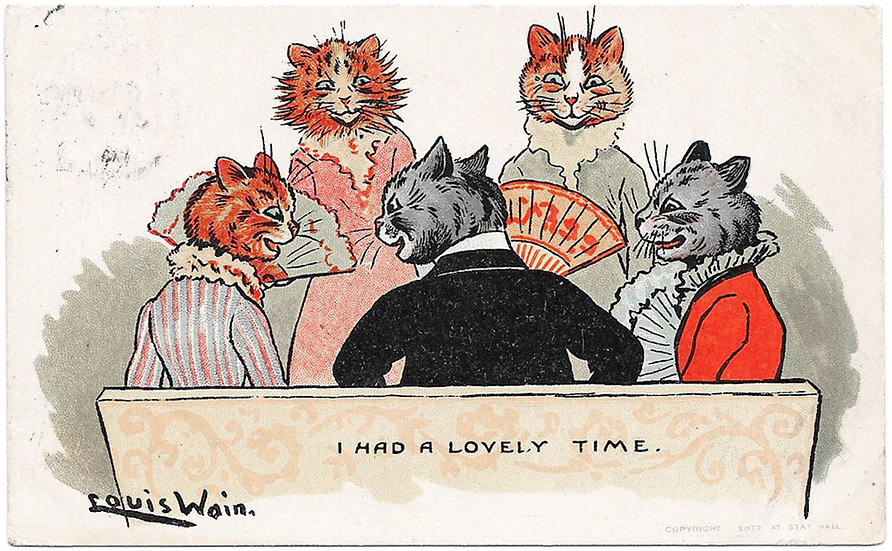Louis Wain Cats Postcard I Had A Lovely Time Used Postcard 1905