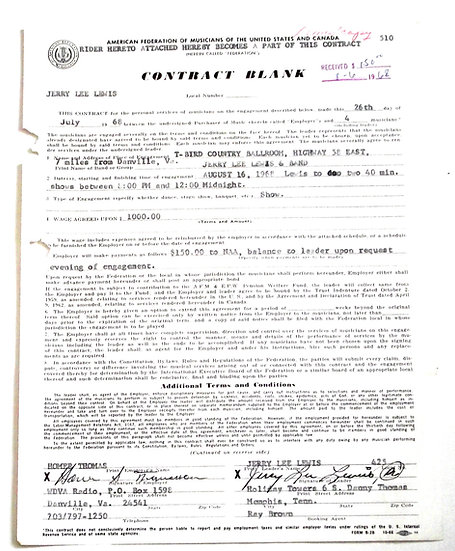 Jerry Lee Lewis Signed Concert Contract dated 26 July 1968