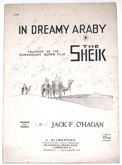 Rudolph Valentino In Dreamy Araby The Sheik Sheet Music 1921