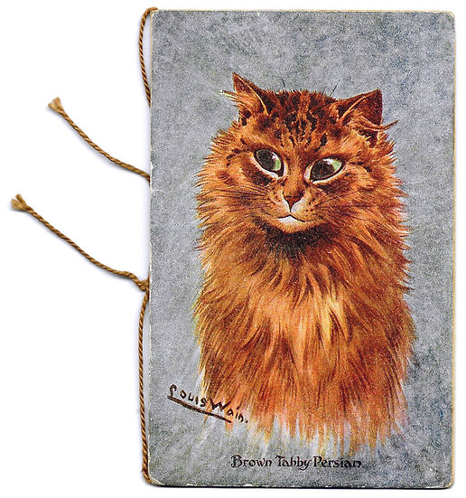 Louis Wain Large Persian Cat Illustration Christmas Card 1917
