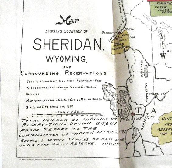 Map of Sheridan Wyoming 1895 & Sketch of Pipeline