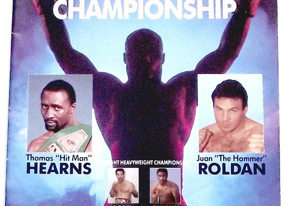 Thomas Hearns v Juan Roldan U.S. Boxing Programme 1987