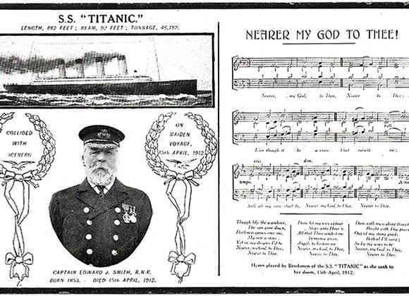Titanic Memorial Postcard Nearer My God To Thee circa 1912