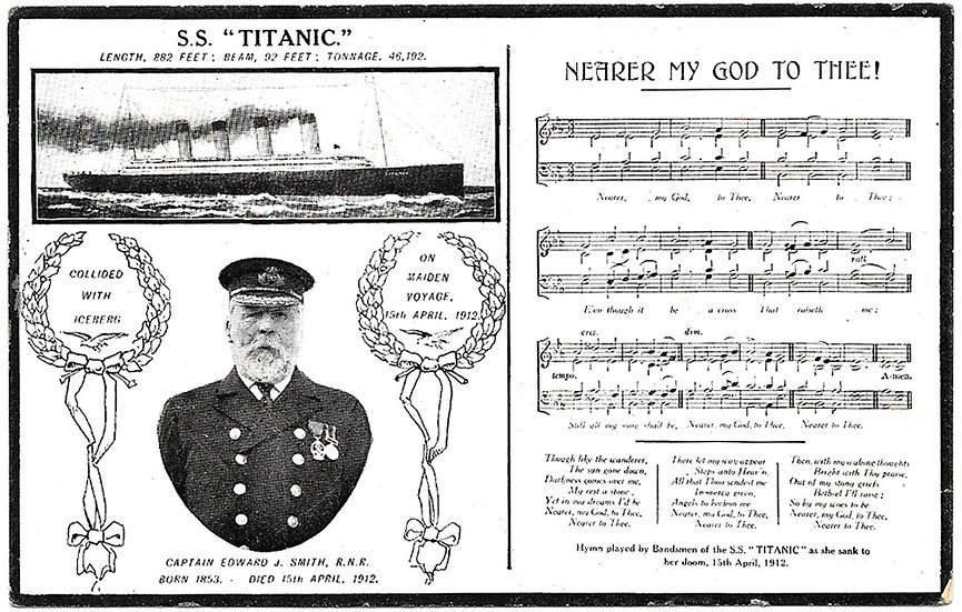 Titanic Memorial Postcard Nearer My God To Thee circa 1912