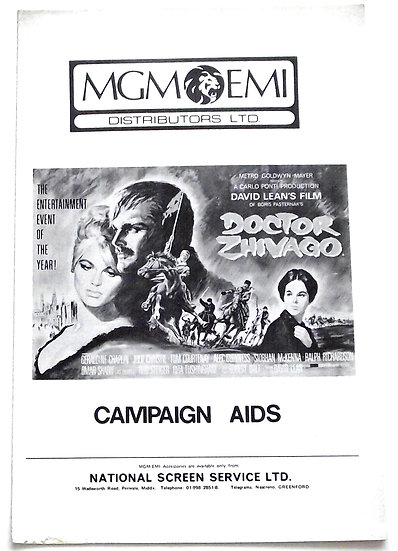 Doctor Zhivago Film Campaign Book 1965