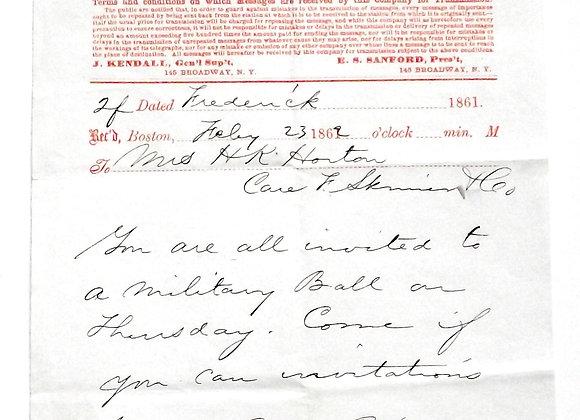 American Civil War Related Telegram 1862