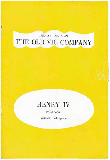 Henry IV Theatre Programme Old Vic 1960-1