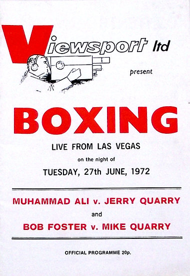 Muhammad Ali v Jerry Quarry UK Boxing Programme 27th June 1972