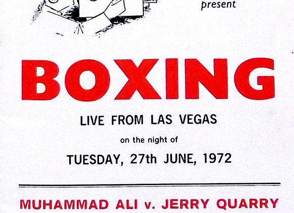 Muhammad Ali v Jerry Quarry UK Boxing Programme 27th June 1972