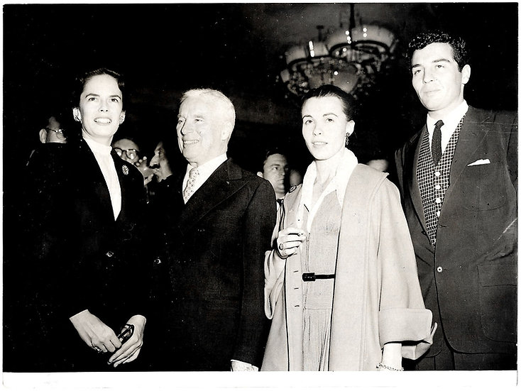 Charlie Chaplin Press Photo The Chaplins With Claire Bloom