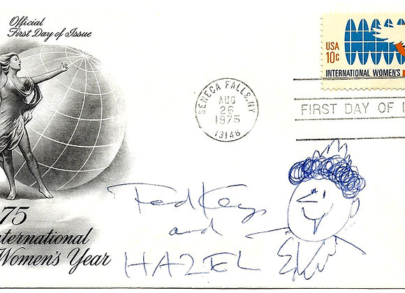 Ted Key Autograph and Sketch of Hazel on a First Day Cover 1975