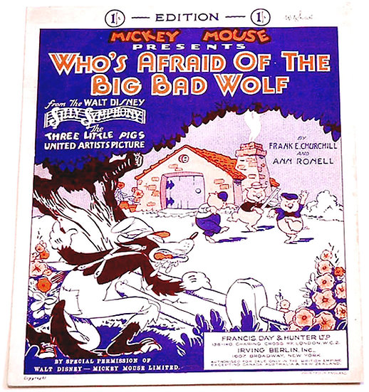 Walt Disney Silly Symphony Who's Afraid of the Big Bad Wolf Sheet Music 1933