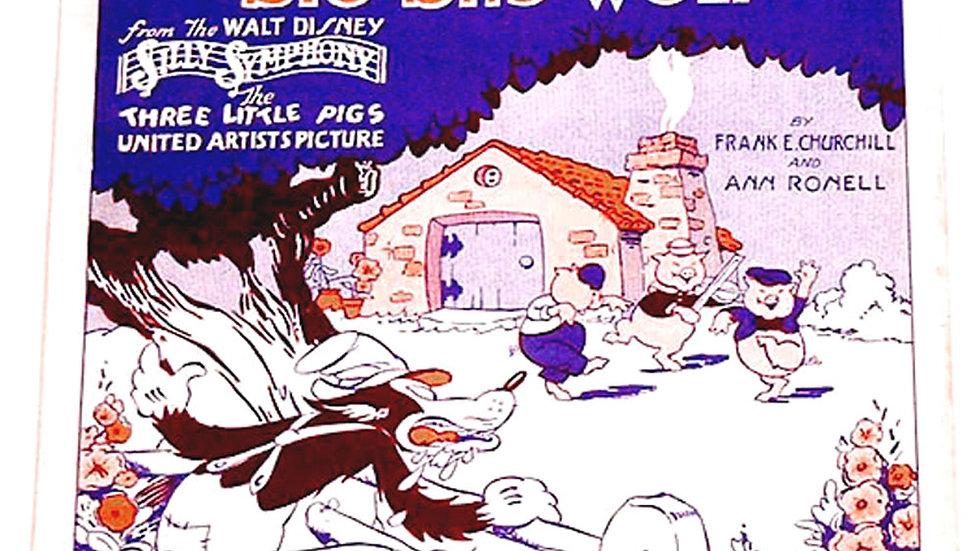 Walt Disney Silly Symphony Who's Afraid of the Big Bad Wolf Sheet Music 1933