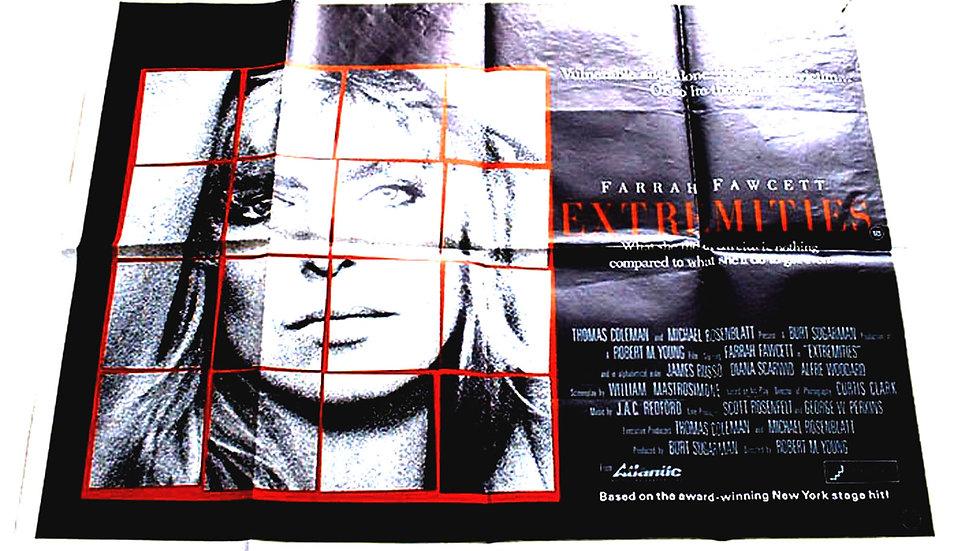 Farrah Fawcett & James Russo Extremities British Quad Film Poster 1986