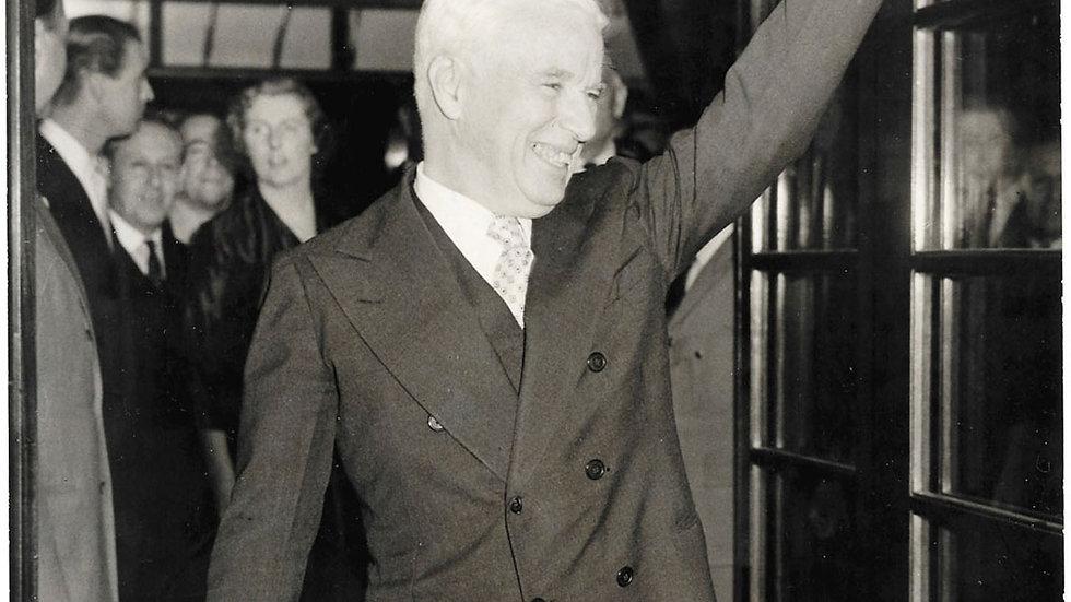 Charlie Chaplin Press Photograph Waving Outside Savoy Hotel 1952