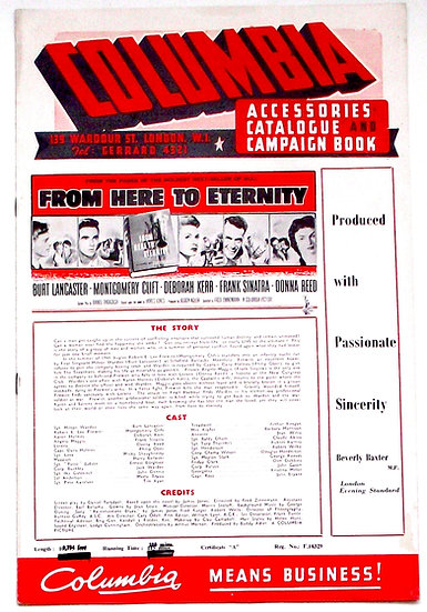 From Here To Eternity UK Promotional Columbia Campaign Book 1953