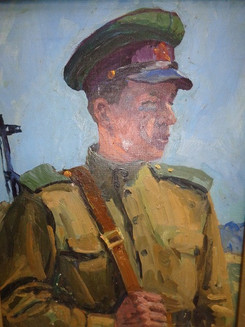Попов Б.Пограничник.1950.Холст,масло.70х50