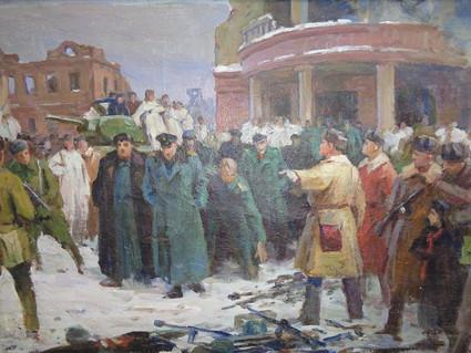 Терентьев Н. Пленение Паулюсав Сталинграде..1957. Холст,масло.50х75
