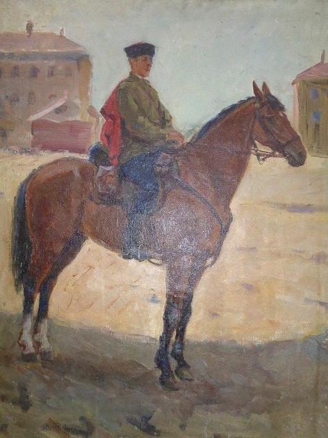 Преображенский Б.Конь генерала Доватора.1942 Холст.масло..65х54