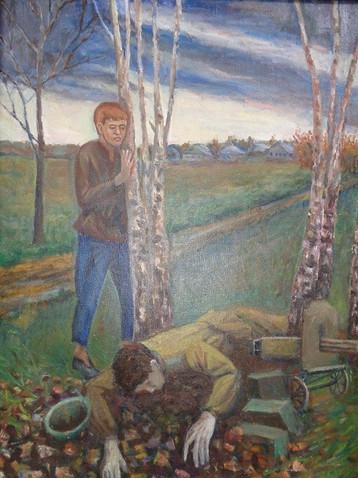 Никулин П.Солдат вечно жив в памяти живых.1957.Холст,масло.50х70