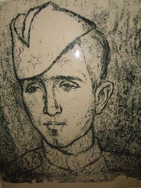 Витухновская С. Солдат.1968.Автолитография. Бумага, тушь. 1968. 53х55.