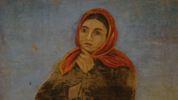 Картина Г.З. Карпова «Портрет девушки-торфоработницы в плисовом полушубке»