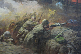 Терентьев Н. В боях за Сталинград. Холст, масло.40х70
