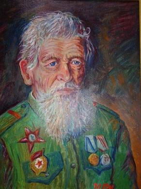 Поляков Ю.Портрет ветерана.1985. Картон, масло.33х40