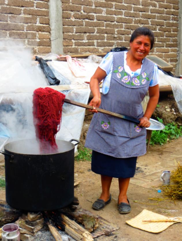 Dyeing wool in a vat of carmine dye.