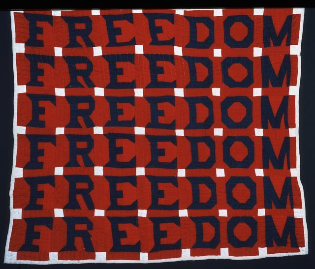 """Freedom Quilt; 68"""" x 74""""; 1983; made by Jessie B. Telfair; formerly in the collection of Shelly Zegart; photo by Geoffrey Carr; appears in the series Why Quilts Matter: History, Art & Politics"""