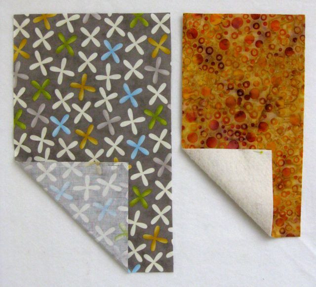 """Left: cover fabric and fusible - 9"""" x 15""""; right: batting, fusible, and lining fabric - 7"""" x 13"""""""
