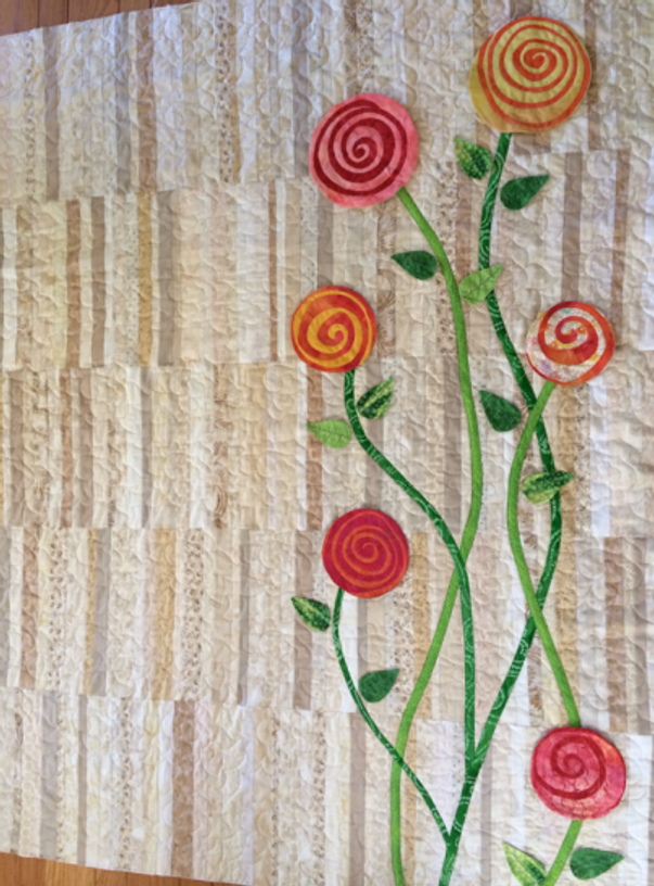 Quilt-J:  Final stages neutral Heart Strings