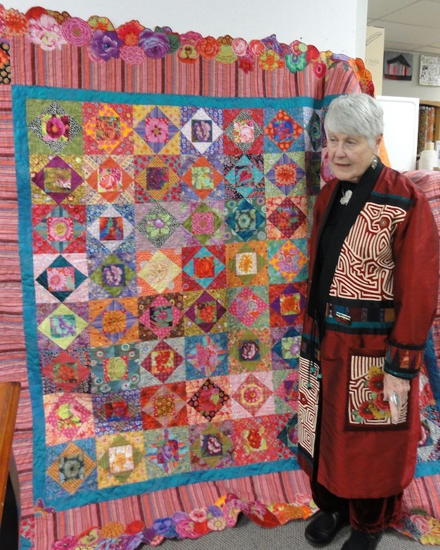 Margaret with her Square in an Square quilt.