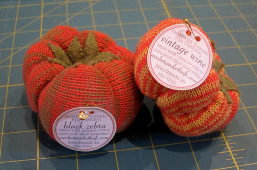 Heirloom tomato pincushions sold at Bolt--aren't they darling?