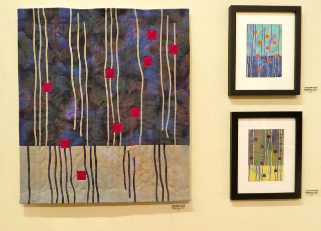 As an extention of her Meditation series, Linda made one larger, and two smaller, framed pieces.