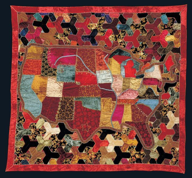 """Map Quilt; 82 1/4"""" x 78 3/4""""; 1886; maker unknown; American Folk Art Museum; gift of Dr. and Mrs. C. David McLaughlin; photo by Schecter Lee; appears in the series Why Quilts Matter: History, Art & Politics"""