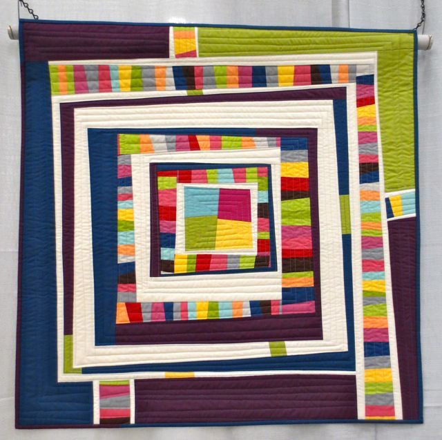 Cool Blue Kona Modern, made and machine quilted by Terry Aske (QuiltCon 2013, category: Improvisation, Small)