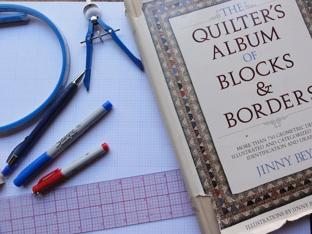 Notice how well used Jinny Beyer's book is. It is a great reference with blocks organized by grid categories.