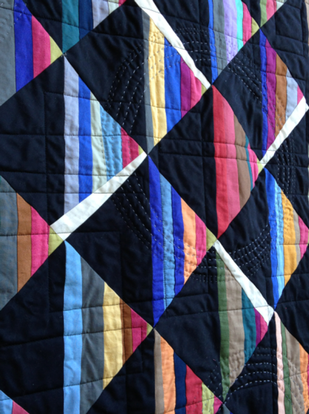 Quilt-J:  Detail of Pati Fried's Amish style quilt