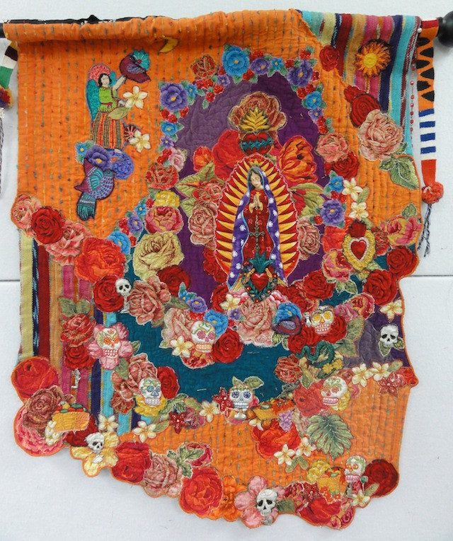 Folkloric wallhanging. Our Lady of Guadalupe made with Guatemalan and Indian fabrics for All Souls Day.