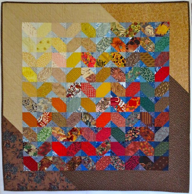 """Woodlands, 51"""" x 51"""", pieced and hand quilted by Darra Williamson. I made this quilt in 1992, so I've been flipping fabrics for at least 20 years!"""