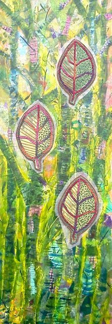One of Linda's pieces combining paper collage and quilted fabric