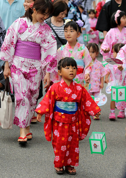 Summer Kimono Festival In Himeji