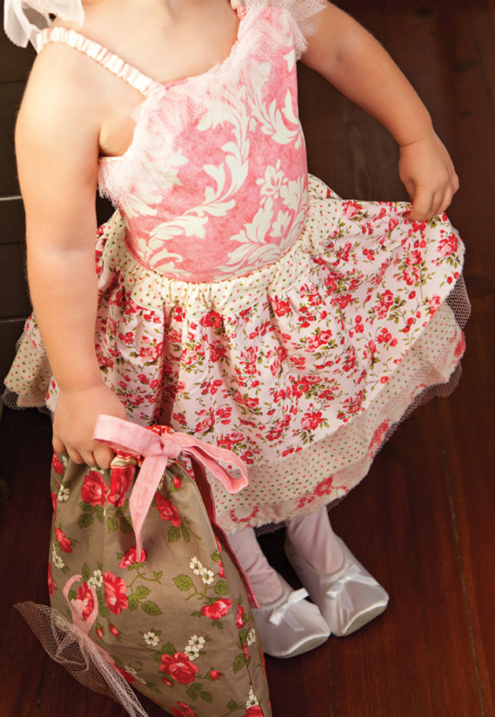 How cute is this? Ensemble (including tote) made with fabrics from Verna's Pirouette collection; photo courtesy Tara Molles Photography