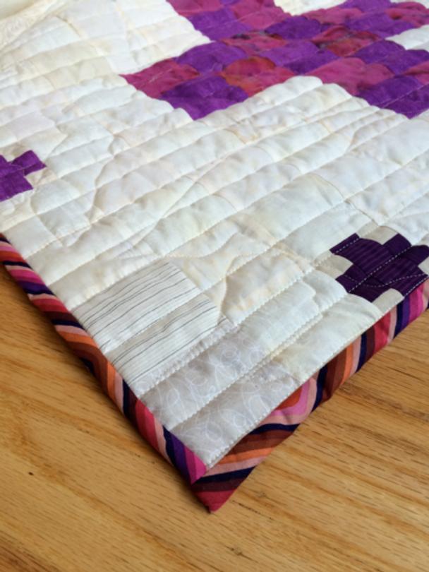 Quilt-J:  Detail view of binding, Jennifer's Purple Haze