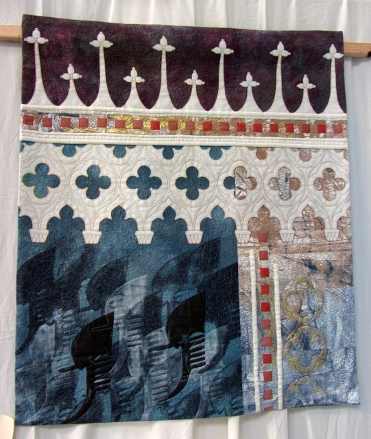 Winter in Venice: Stones & Water by Vineta Cable, Devon; note the gondola imagery Vineta incorporated into the lower left quadrant of this lovely quilt.