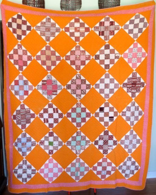 """Checkerboard, 66"""" x 77"""", maker unknown, possibly Tennessee or Kentucky, circa 1875 - 1890"""