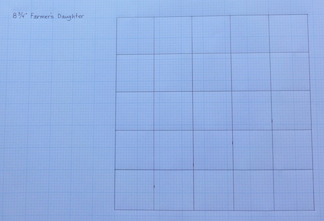 Fill in the 5 x 5 grid onto the graph paper, as shown.